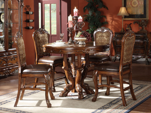 Acme 5 Pieces Dresden Cherry Oak Round Counter Height Dining Set