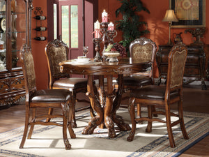 Acme 12160 5 Pieces Dresden Cherry Oak Round Counter Height Dining Set