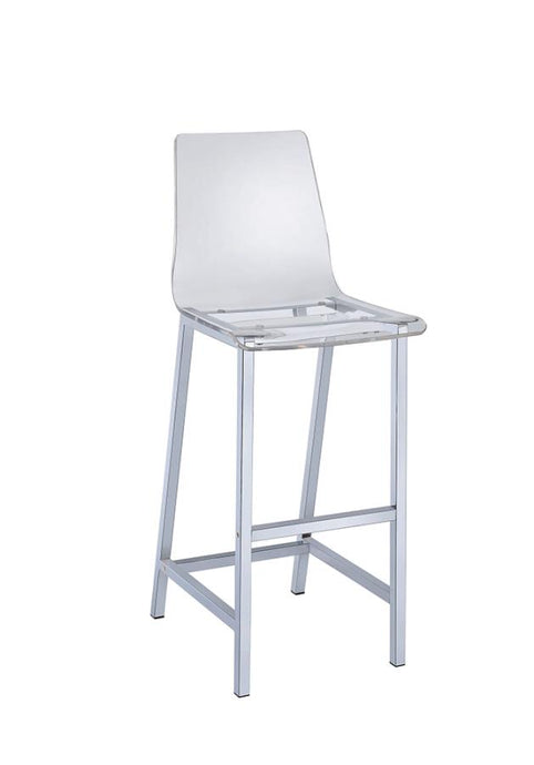 Homy Living Chrome Acrylic And Steel Finish Bar Stool