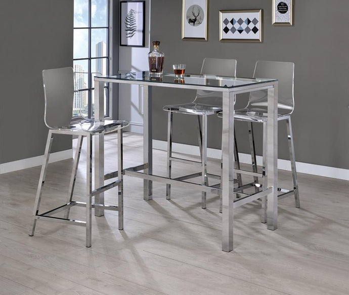 Homy Living Chrome Acrylic And Steel Finish 3 Piece Bar Table Set