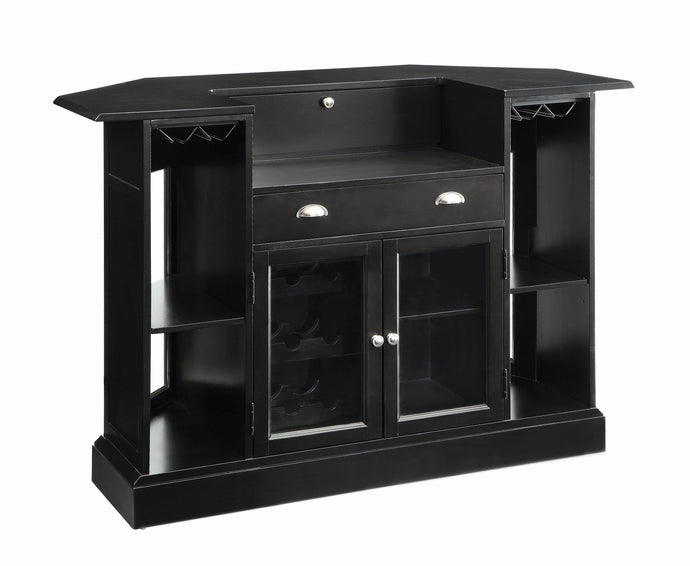 Homy Living Black Wood And Glass Finish Bar Table Unit