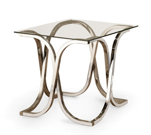 Chrome Tempered Glass Top Group End Table
