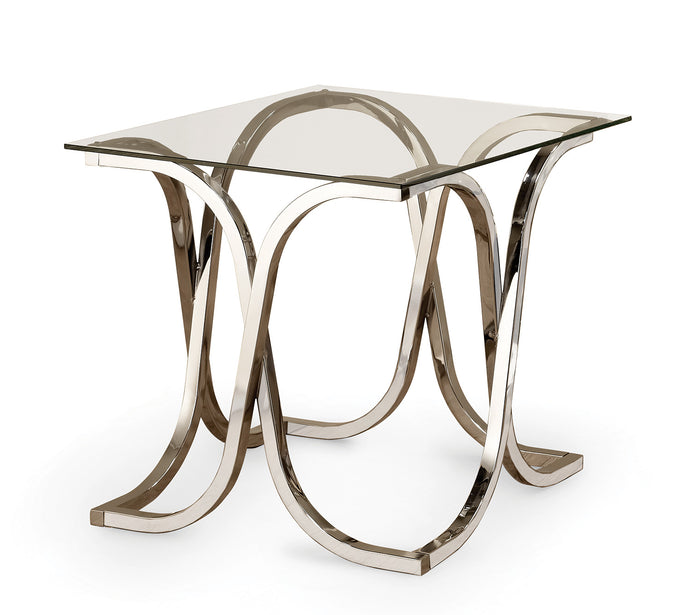 Coaster Chrome Tempered Glass Top Group End Table