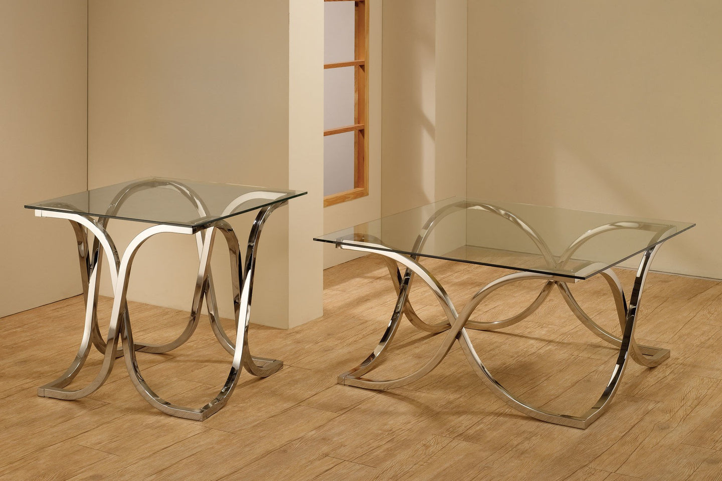 Chrome Tempered Glass Top Group Coffee Table Set