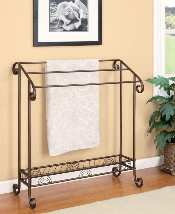 Traditional Style Brozne Metal Towel Rack