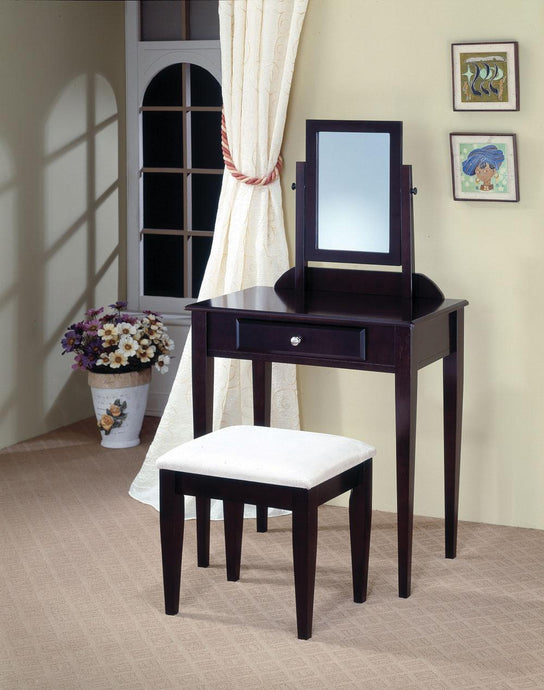 Contemporary Style Cappuccino Vanity Set