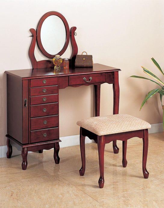 Coaster Traditional Style Cherry Vanity with Stool