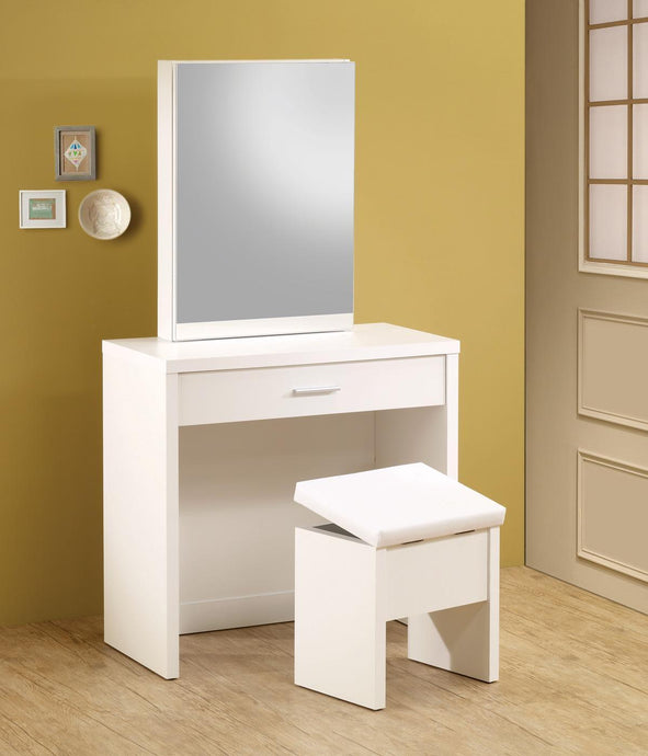 Homy Living White Wood Finish 2 Piece Vanity Set