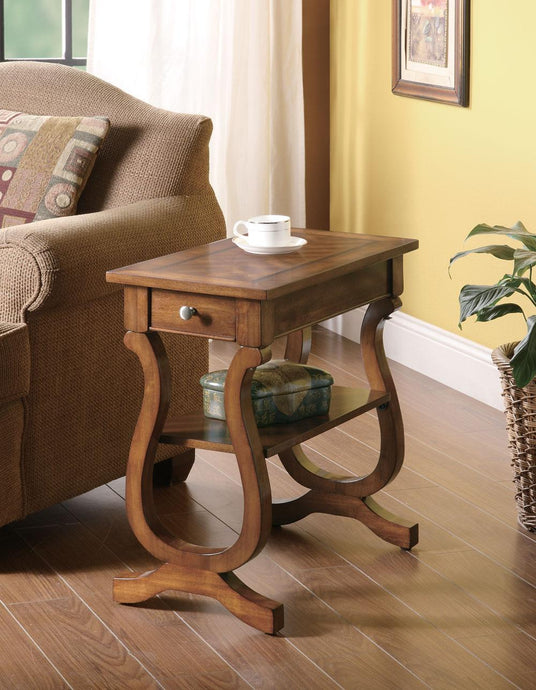 Warm Brown Wood Finish Chairside Table