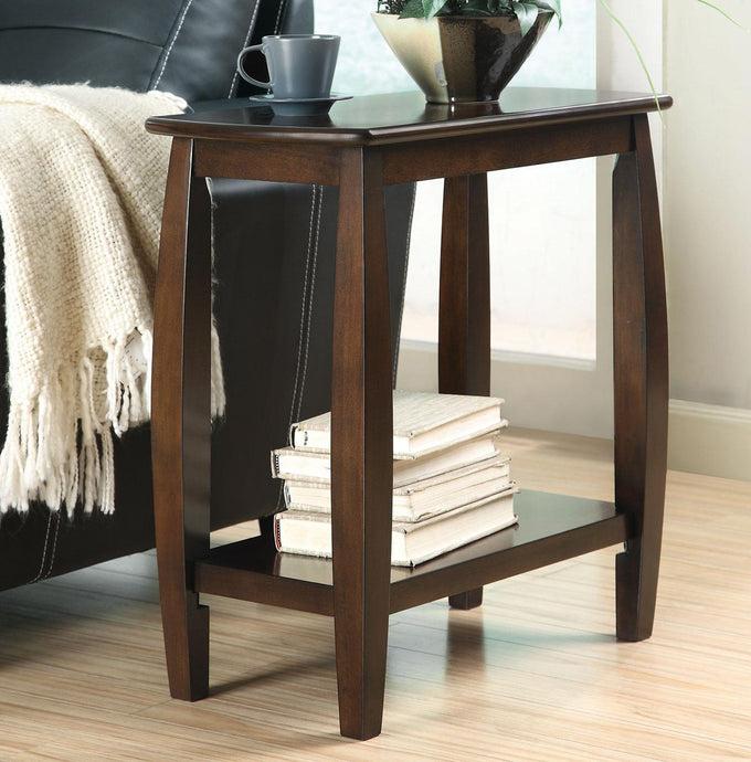 Contemporary Style Walnut Chairside Table