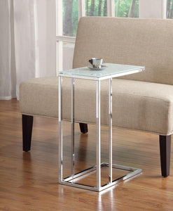 Coaster Frosted White Contemporary Snack Table