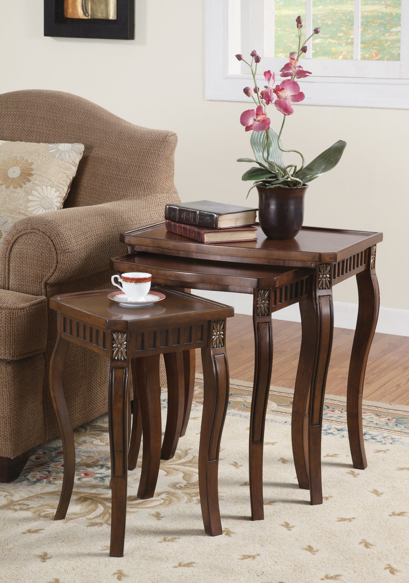 Coaster Cherry 3 Piece Nesting Table Set