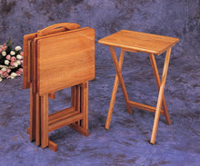Load image into Gallery viewer, Coaster Four Piece Tray Tables in Oak Finish