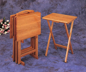 Coaster Four Piece Tray Tables in Oak Finish