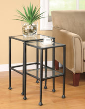 Load image into Gallery viewer, Coaster Glass Metal 2 Piece Nesting Table Set