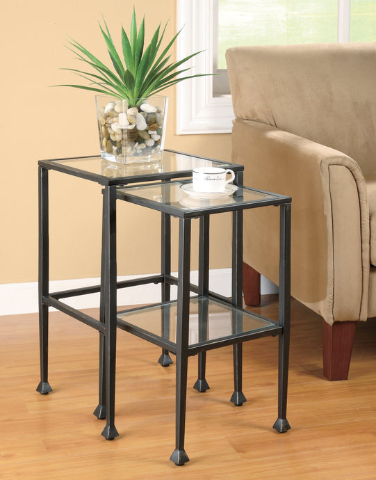 Glass Metal Finish 2 Piece Nesting Table Set