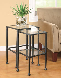 Coaster Glass Metal 2 Piece Nesting Table Set