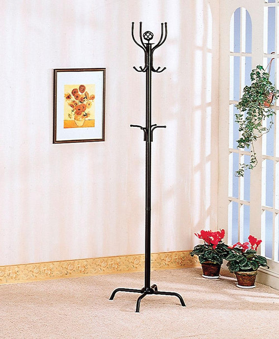 Coaster Satin Black Triple Tiered Hooks Coat Rack