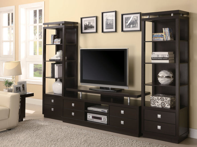 Wall Units Cappuccino Media Entertainment Center Set