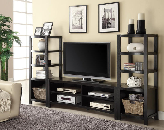 Wall Units Brown Inverted Curved Front TV Console Set
