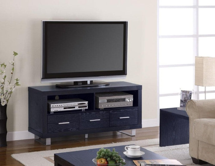 Homy Living Black Wood Shelves and Drawers Media TV Console