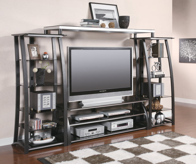 Coaster Black And Silver Metal Finish 4 Piece Entertainment Center Set