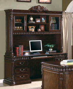 Coaster Union Walnut Credenza Computer Desk With Hutch