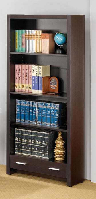 Skylar Cappuccino Shelf Bookcase with Storage Drawer