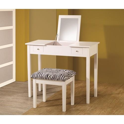 Homy Living White Wood Finish Vanity Set