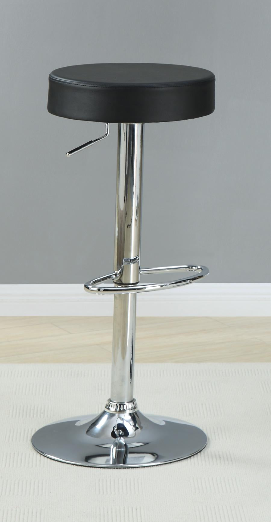 Coaster Adjustable Hight Black Seat Chrome Base Bar Stool