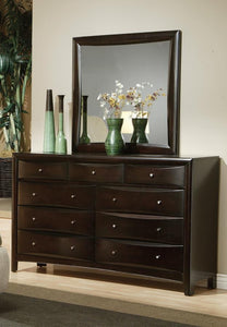 Phoenix Cappuccino Drawers Dresser and Mirror Set