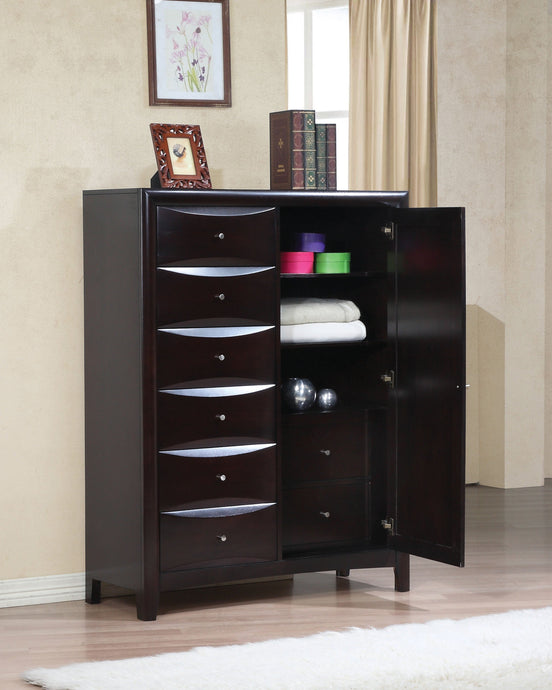 Phoenix Cappuccino mans Chest with Storage Drawers