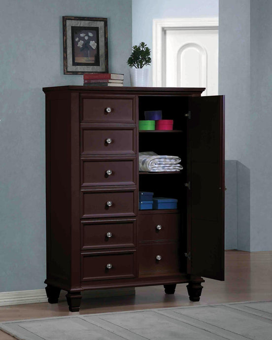 Sandy Beach Cappuccino Door Chest with Concealed Storage