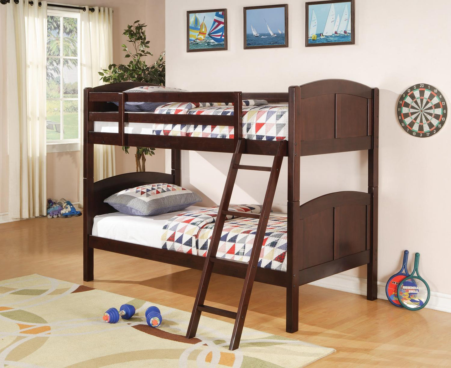 Homy Living Parker Cappuccino Wood Finish Twin Over Twin Bunk Bed