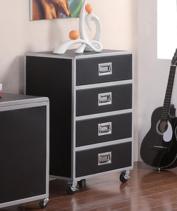 Homy Living LeClair Black and Silver Drawer Chest with Casters