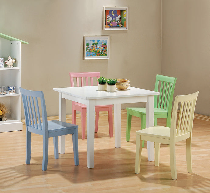 Coaster Kinzie 5 Piece White Table and Multicolor Chairs Set