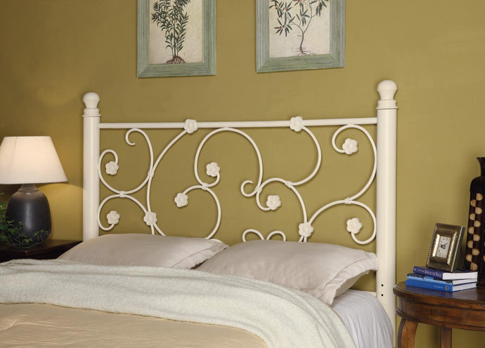 Homy Living White Metal Queen Full Headboard Hinted Flower Accents