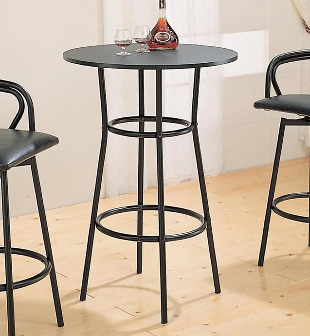 Round Top Black Metal Frame Bar Table
