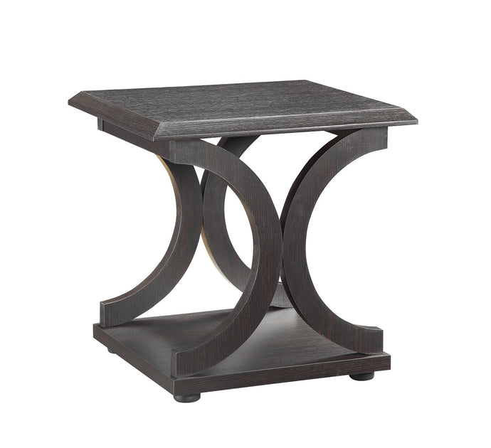 Cappuccino Wood Finish C Shaped End Table
