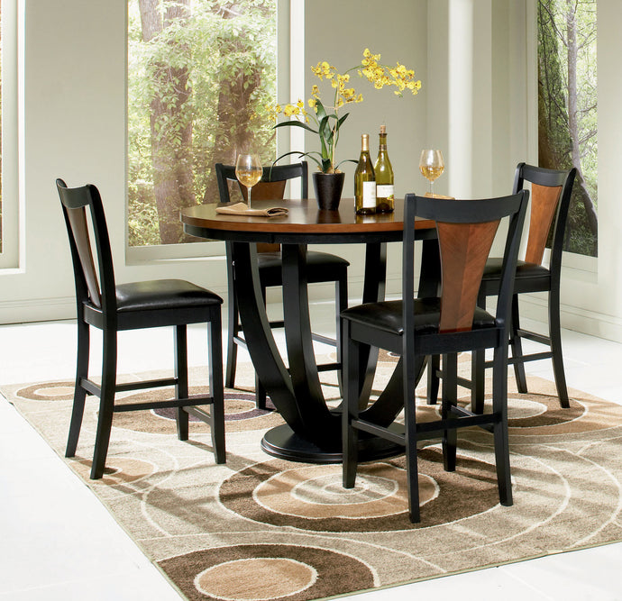 Coaster 5 Piece Two Tone Black Amber Counter Height Table Chair Set