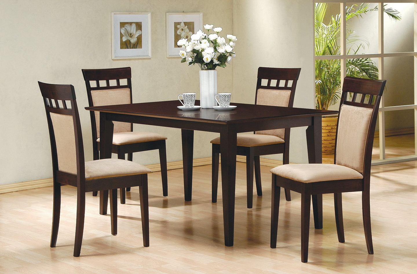 Mix Match Cappuccino Dining Table Cushion Back Chair Set