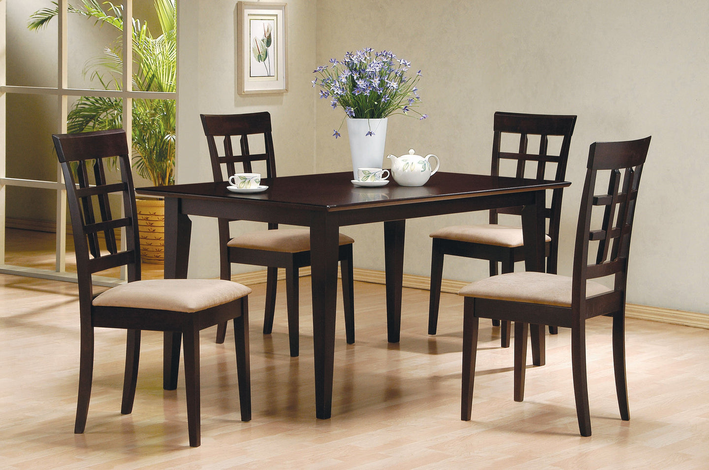 Mix Match Cappuccino Dining Table Wheat Back Chair Set