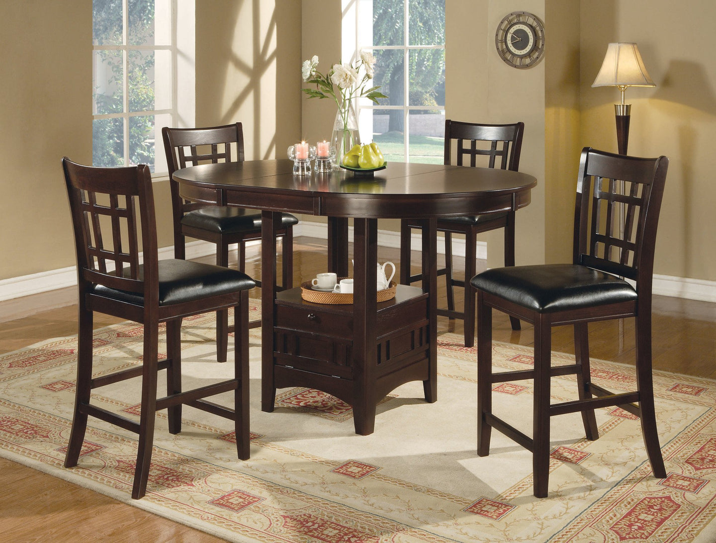 Lavon Cappuccino Oval Counter Height Table Chair Set