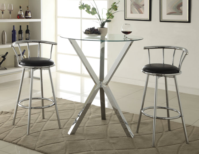 Round Glass Top Chrome Base Table Swivel Bar Stool Set