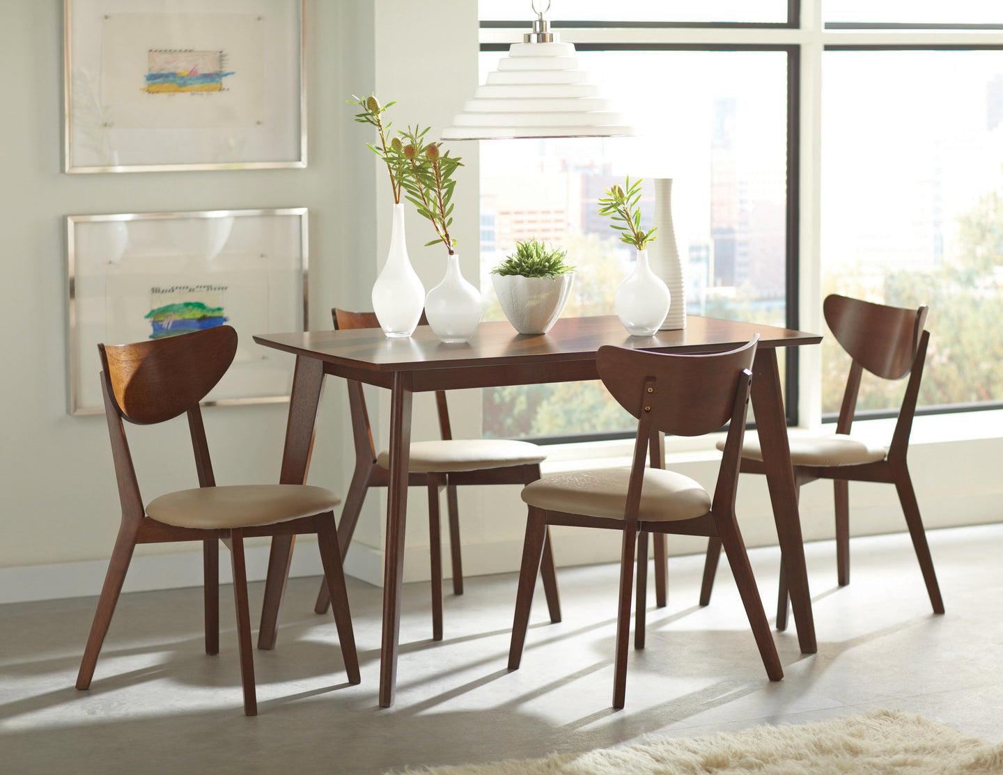 Coaster Kersey 5 Piece Dining Table Set in Chestnut Finish