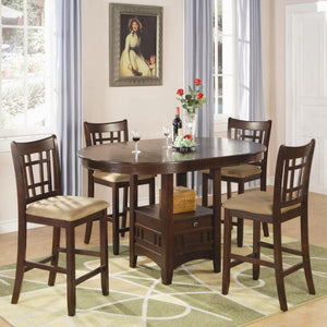 Lavon Dark Cherry Oval Counter Height Table Chair Set