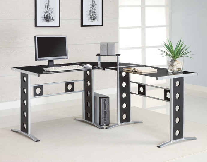 Modern L Shaped Silver Black Computer Desk Set