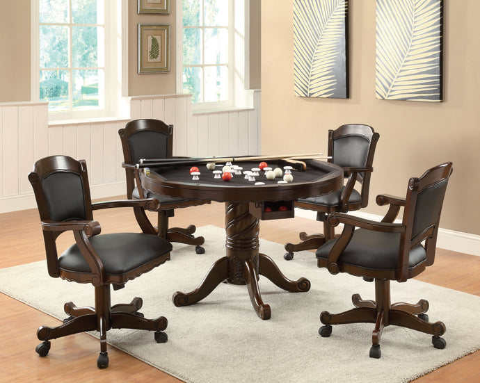Coaster Tobacco 5 Piece Convertible 3  in 1 Game Table and Chairs Set