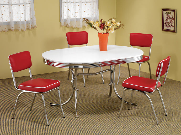 Coaster Cleveland 5 Piece Chrome Dining Table Set With Red Chairs