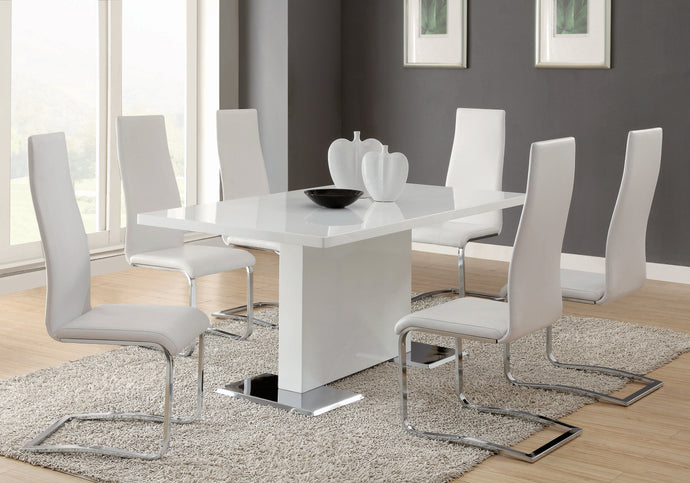 Coaster White Chrome Metal Base Dining Room Table Set